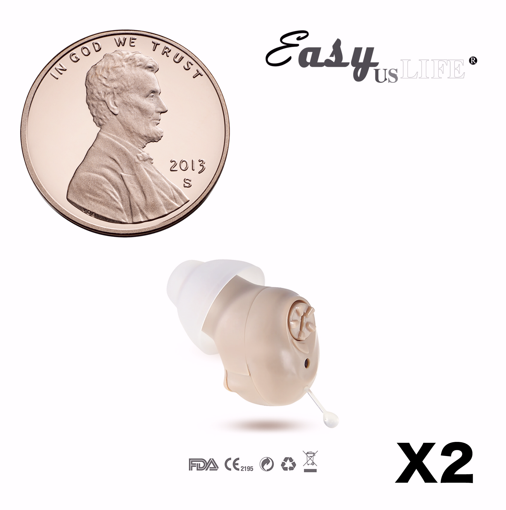 Super Mini Size, Half Penny-Sized ,In-The-Canal (ITC) ,Set of 2 ...